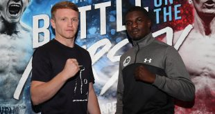 BATTLE OF THE MERSEY PROMOTION PRESS CONFERENCE, HILTON HOTEL, LIVERPOOL PIC;LAWRENCE LUSTIG WBA INTERNATIONAL SUPER-LIGHTWEIGHT TITLE  CHAMPION TOM STALKER AND CHALLENGER OHARA DAVIES COME FACE TO FACE AS THEY ANNOUNCE THEIR FIGHT ON EDDIE HEARNS PROMOTION AT THE ECHO ARENA ON SATURDAY 30TH SEPTEMBER