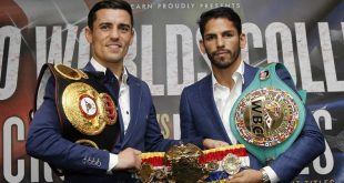 Jorge Linares and Anthony Crolla pose at the Press Conference