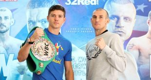 Luke Campbell and Derry Mathews at the Press Conference