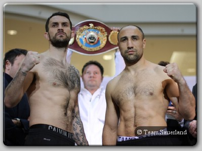 Paul Smith Arthur Abraham Berlin weigh in1 Trainer Gallagher Says All Guns Blazing For Paul Smith