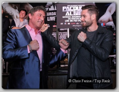 Sylvester Stallone Chris Algieri The Two Rockys: Stallone Surprises Algieri In Los Angeles