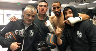 Credit: Team DeGale; From Left: Coach Jim McDonnell, Gabriel Rosado, DeGale & Paulie Malignaggi
