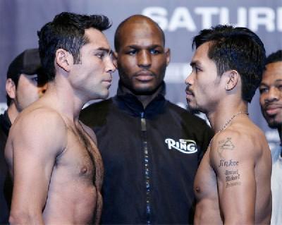 DeLaHoyaPacquiaoWeighIn31 Boxing Weights: Oscar De La Hoya vs. Manny Pacquiao