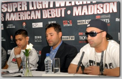 khanpaulieoscar1 Boxing Press Conference: Amir Khan vs. Paulie Malignaggi
